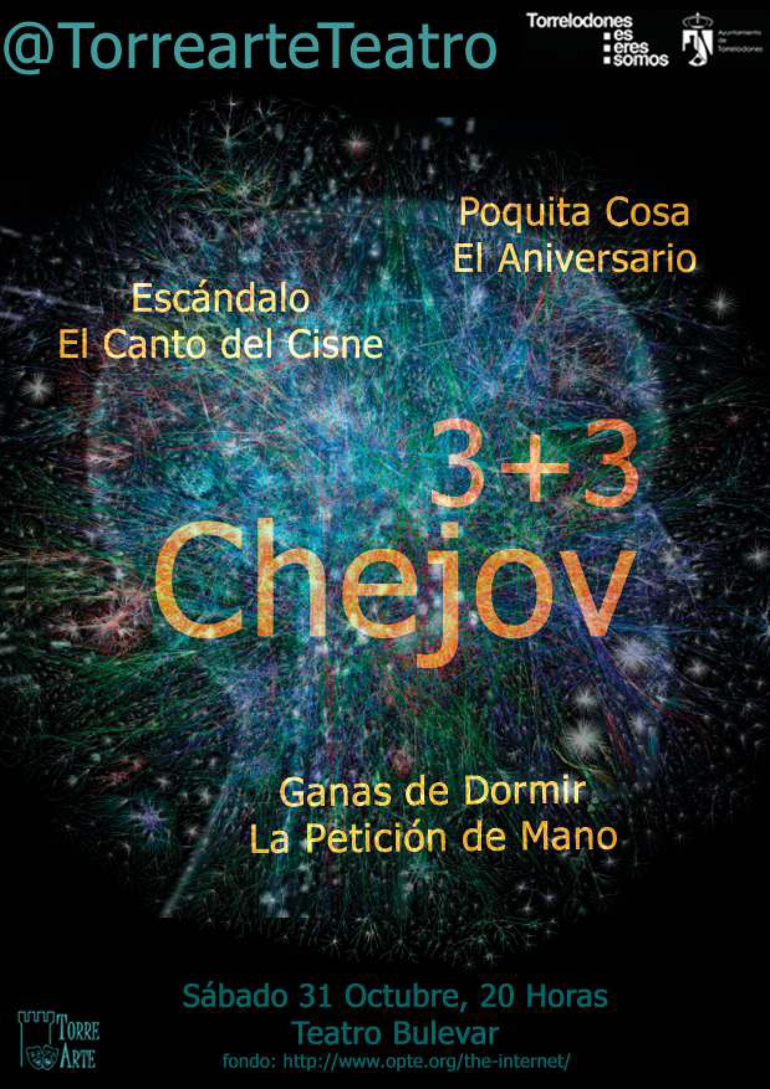 """Torrearte presenta """"3+3 Chejov"""". 31 de octubre 2015 en Torrelodones."""